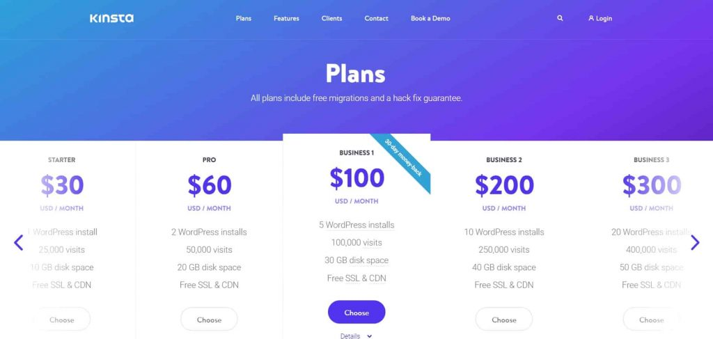 Plans-and-Pricing-Kinsta Web Hosting