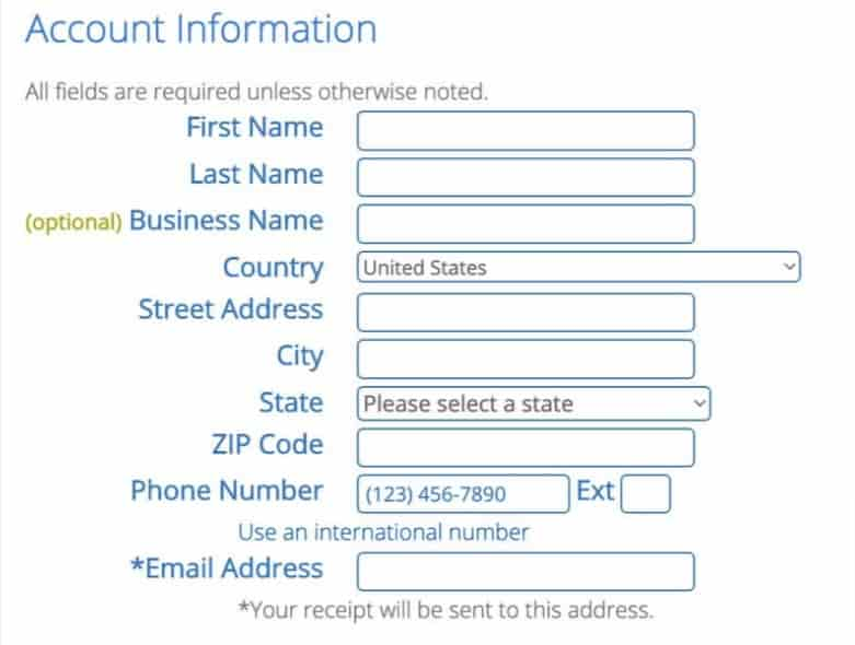 Register with bluehost