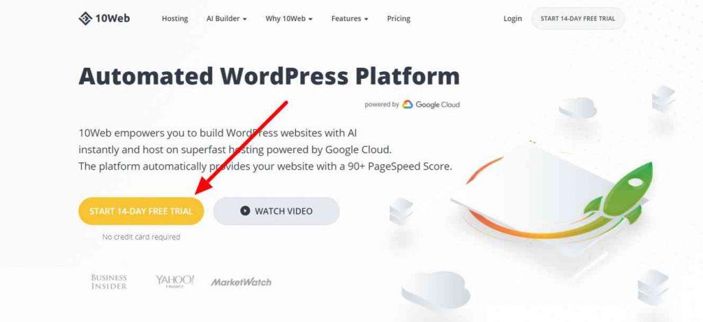 10Web Hosting Website