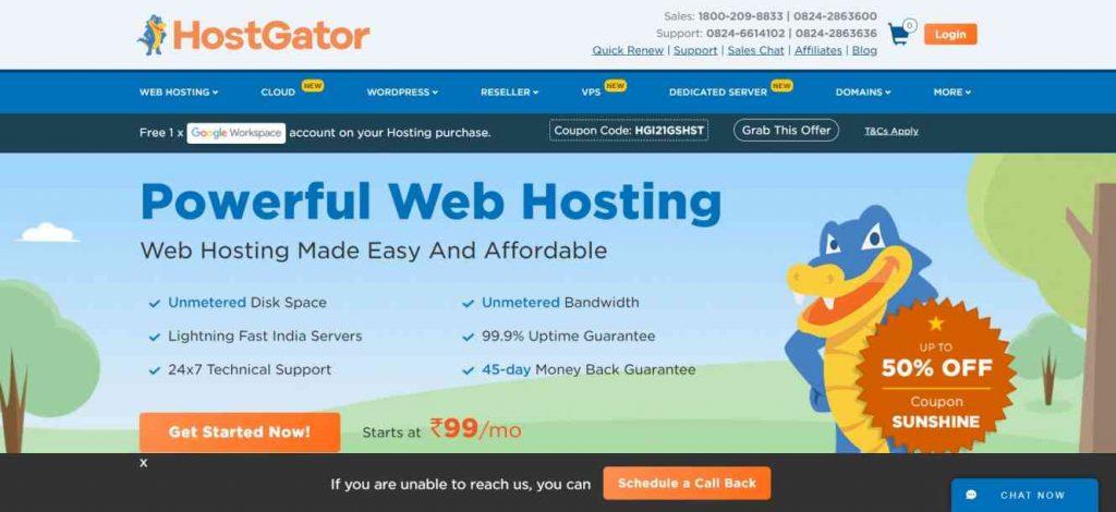 Best Web hosting Hostgator Home Page India