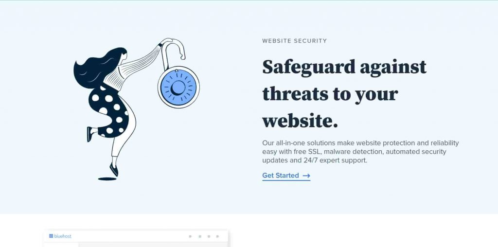 Free SSL for security by bluehost