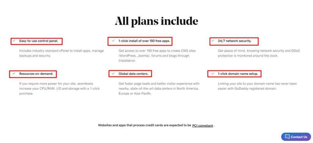Godaddy web hostings features