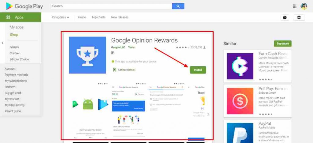 Google Opinion Rewards App se paise kamaye