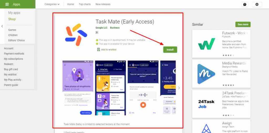 Google Task mate app se paise kamaye