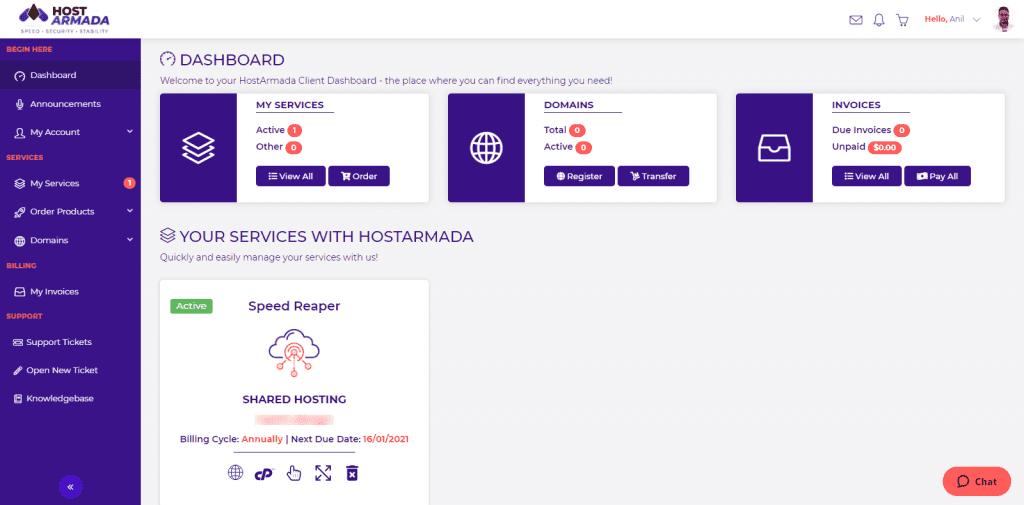 Hostarmada-client dashboard