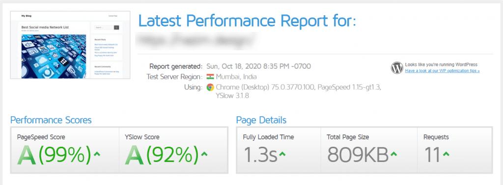 Hostarmada performance report from GTMetrix