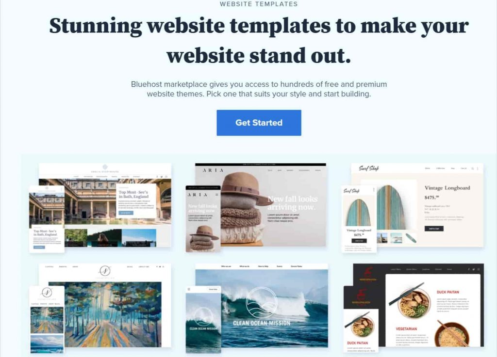 Stunning website templates free from bluehost
