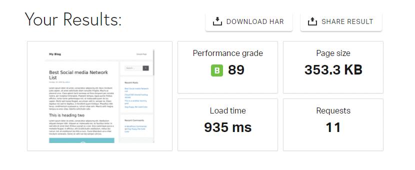 hostarmada Pingdom speed test result